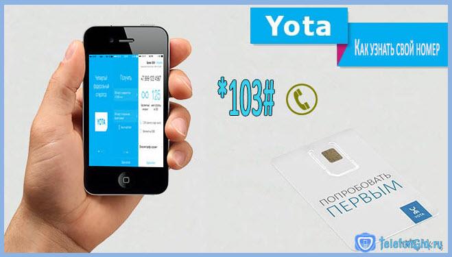 Узнать свой номер Yota можно с помощью команды, представленной на картинке.